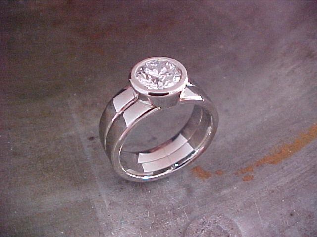14k white gold custom engagement ring with large round diamond