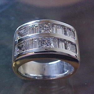 wedding ring with multiple diamonds