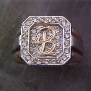 large custom ring with monogrammed engraving top view
