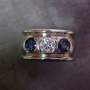 wide band with diamonds and sapphires