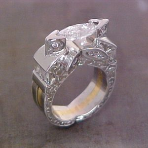 cats eye starburst white gold ring with diamonds side view