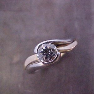 custom ring with large round center diamond top view