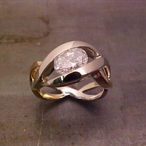 14k white gold twisted band with large diamond