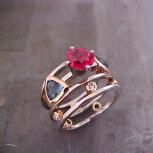 custom ring with rubies and sapphires