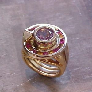 custom ring with pink gems
