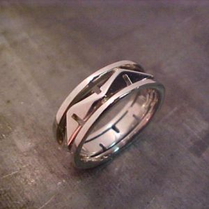 custom engraved mountain wedding ring
