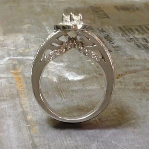 cat eye shaped diamond ring side view
