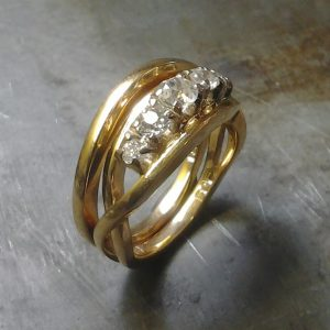 gold rustic twisted ring with diamonds