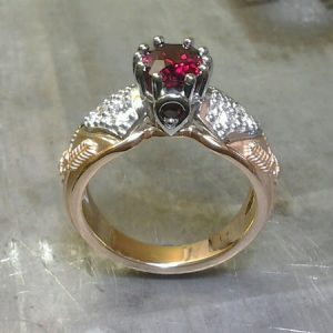 vintage victorian royalty inspired ring with ruby and custom engraving