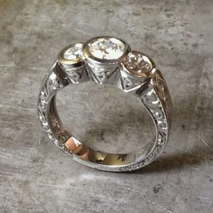 engraved Celtic engagement ring