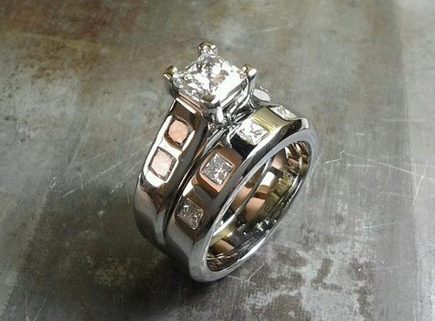 custom engagement ring and matching wedding band by sean ferguson