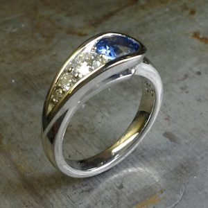 peas in a pod sapphire/diamond dinner ring