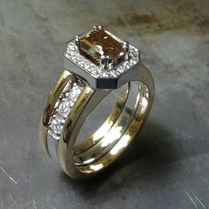 emerald cut Champagne diamond wedding set