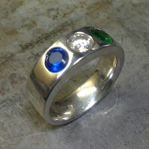 emerald sapphire diamond family ring wedding band
