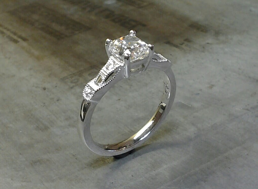 antique engagement ring cushion cut 19k
