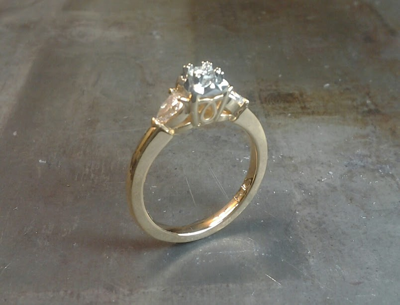 2 tone 18k Vintage Engagement Ring