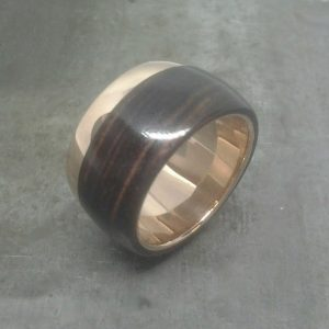 rose gold iron wood wedding band