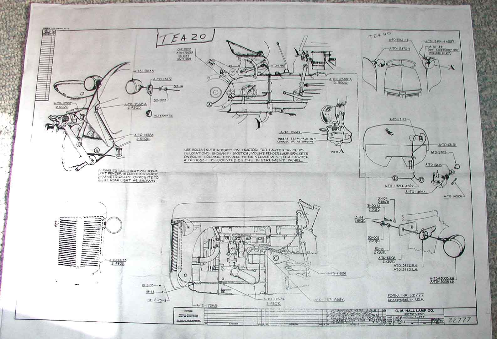 TEA20 Lighting Harness ferguson tea 20 wiring diagram ferguson te20 wiring diagram at gsmx.co