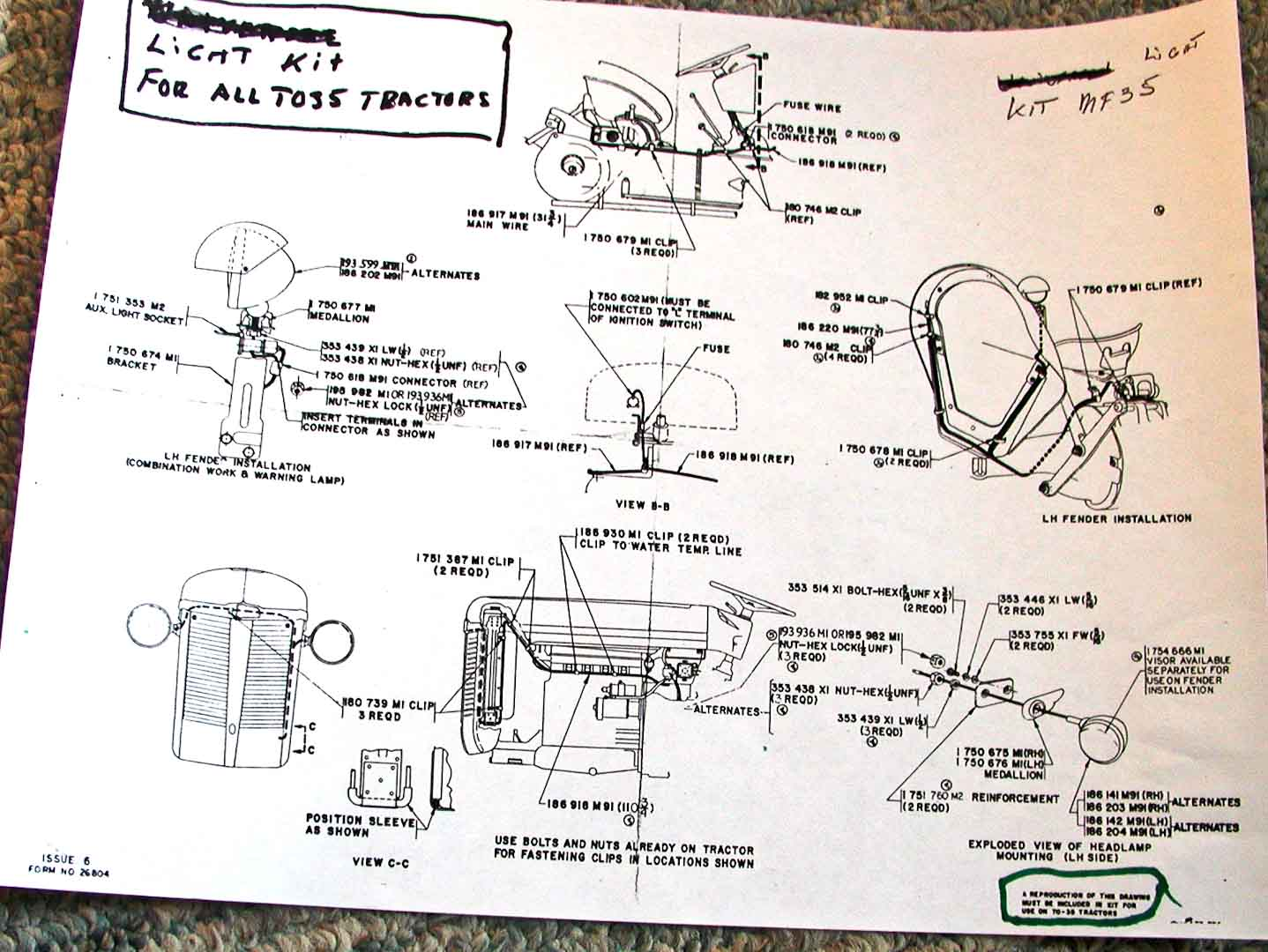 massey ferguson 35 wiring diagram 2000 international 4900 to great installation of electrical and lighting diagrams enthusiasts north america rh fergusontractors org to35 135