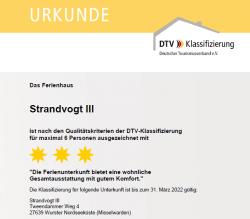 DTV Klassifizierung Ferienhaus Dodegge Misselwarden