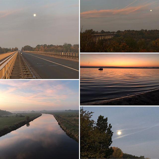 Die Sonne ️ löst den Mond gerade ab und wird und heute einen perfekten Herbsttag zaubern. Raus in die Natur und genießen 😀#muldestausee #pouch #krina #goitzsche #herbst #herbstsonne #vollmond #sonnenaufgang #angeln