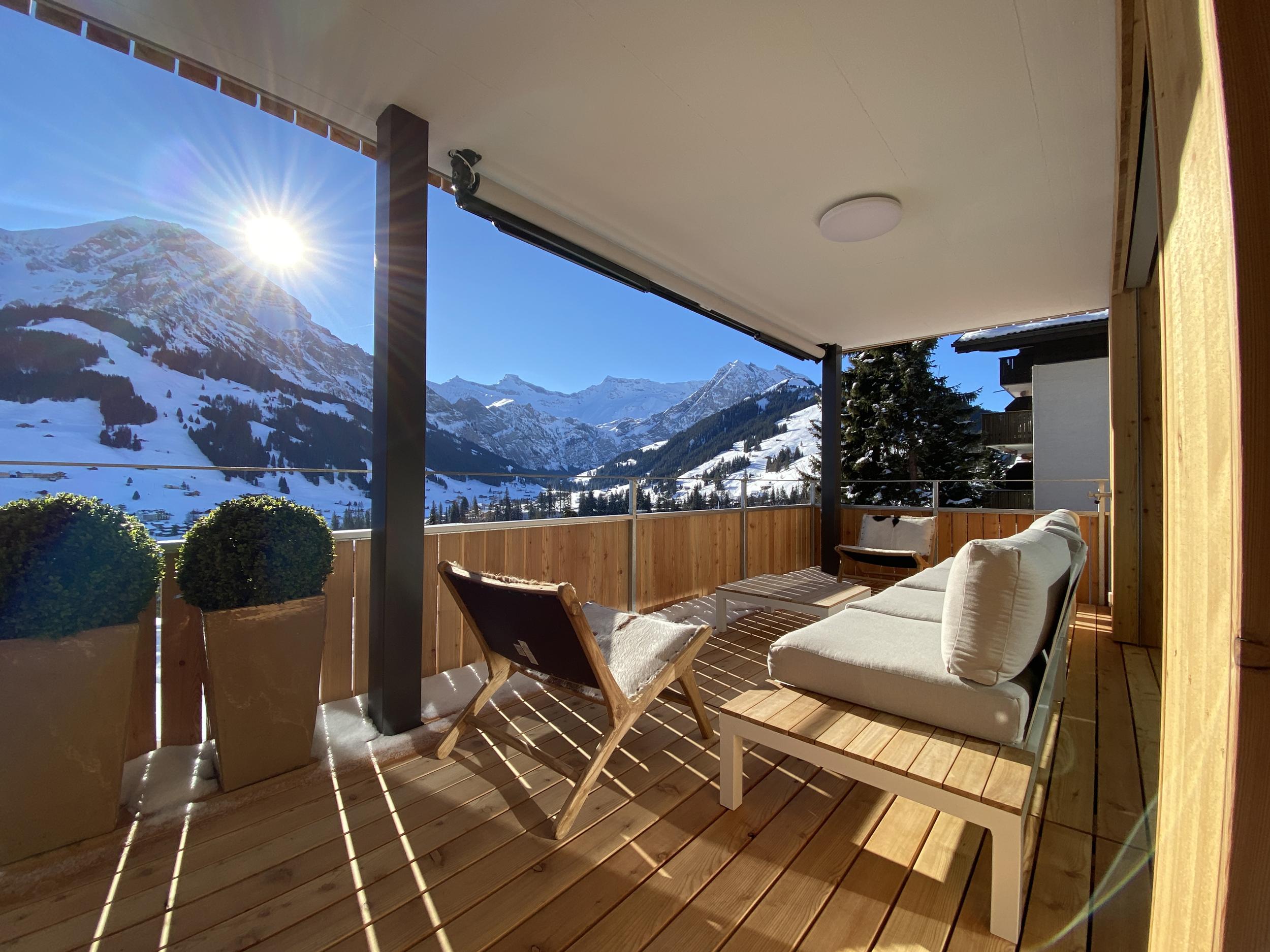 Ferienwohnung Adelboden Balkon Blick