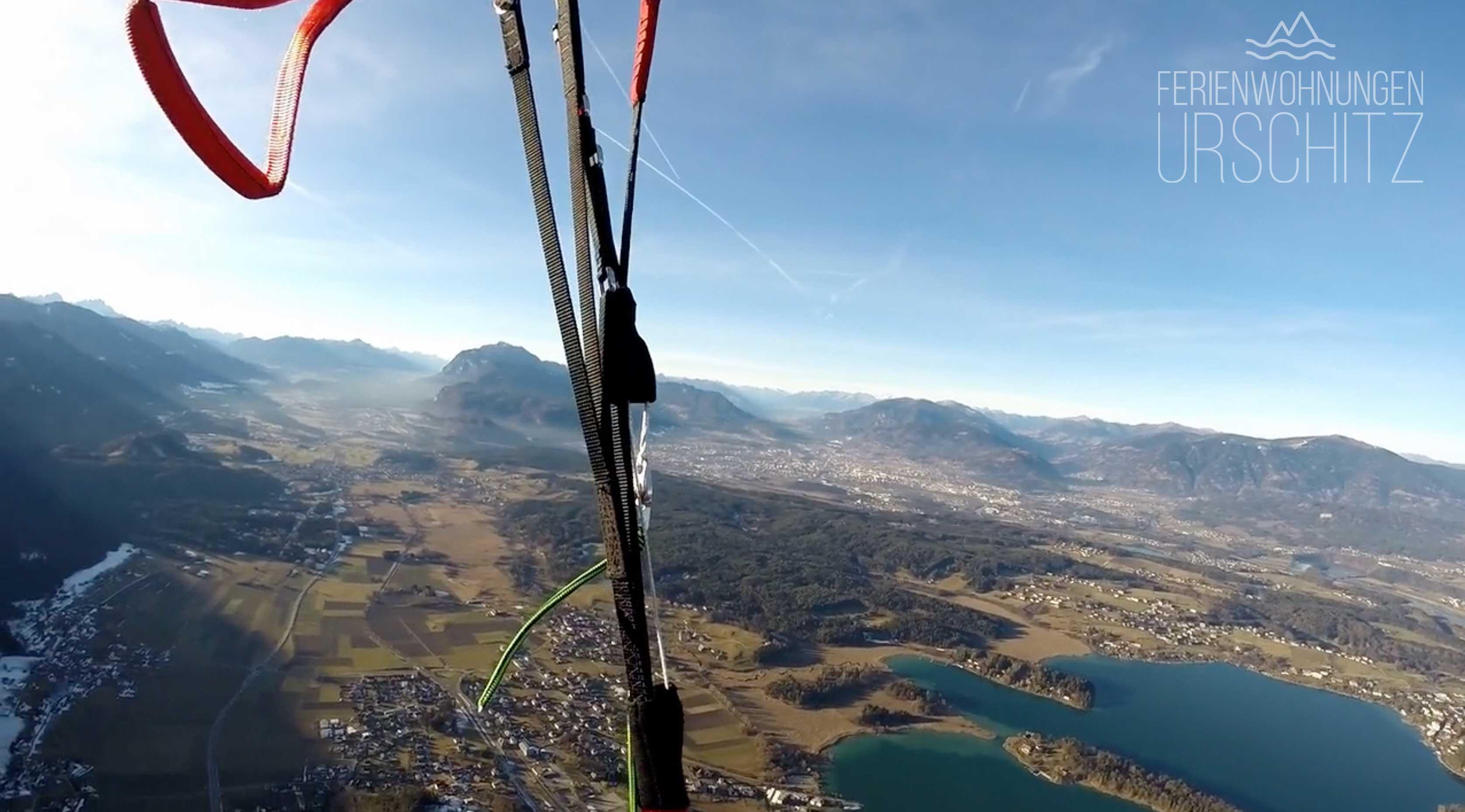Paragleiten: Hike & Fly Tour Mittagskogel, Faaker See Flug, Landung Drobollach/Ferienwohnungen Urschitz.