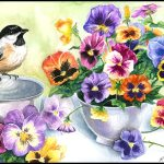 Little Sip -  chickadee and pansies