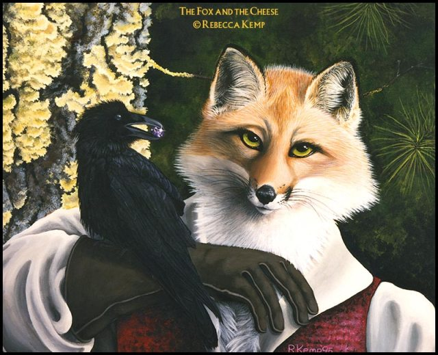The Fox and the Cheese - fox furry and a raven
