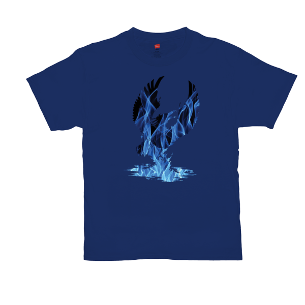 Blue Fire Phoenix T-Shirts - dark blue
