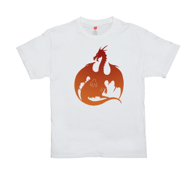 Red Orange Dragon T-shirt - white