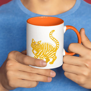 Orange Tabby Cat Accent Mug