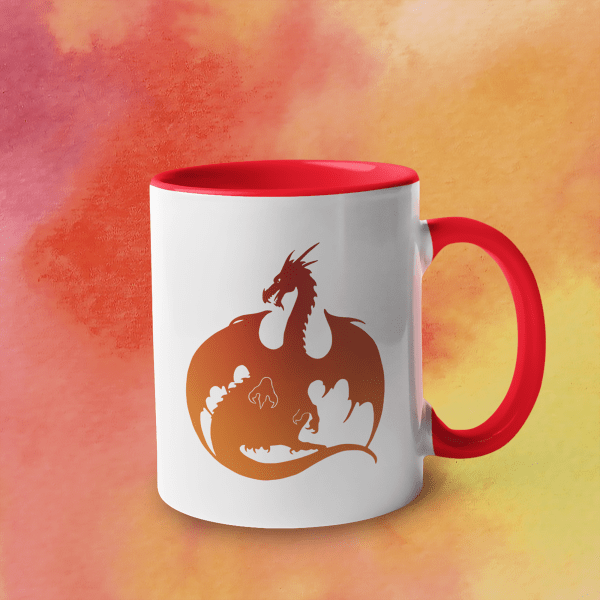 Red-Orange Dragon Accent Mug
