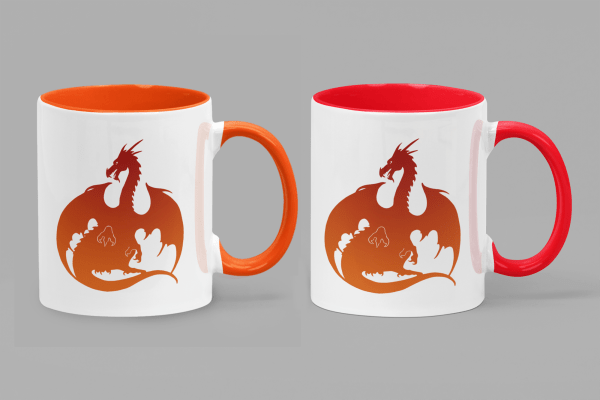 Red-Orange Dragon Accent Mugs