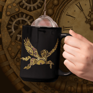 Clockwork Pegasus 15oz black mug