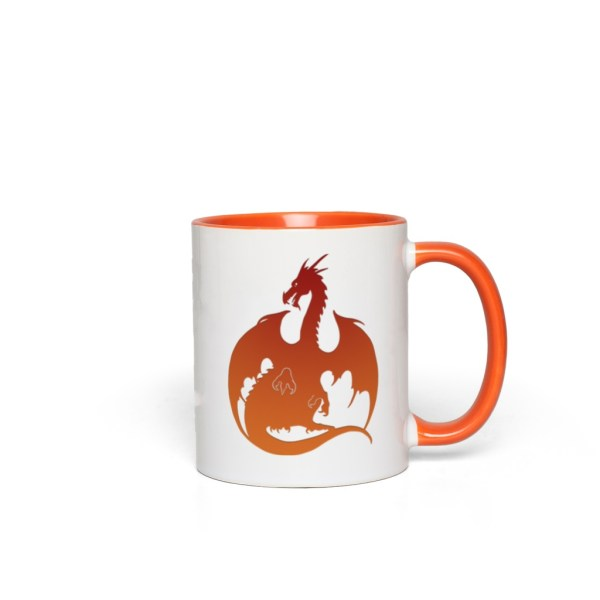 Red-Orange Dragon Accent Mug - orange accents