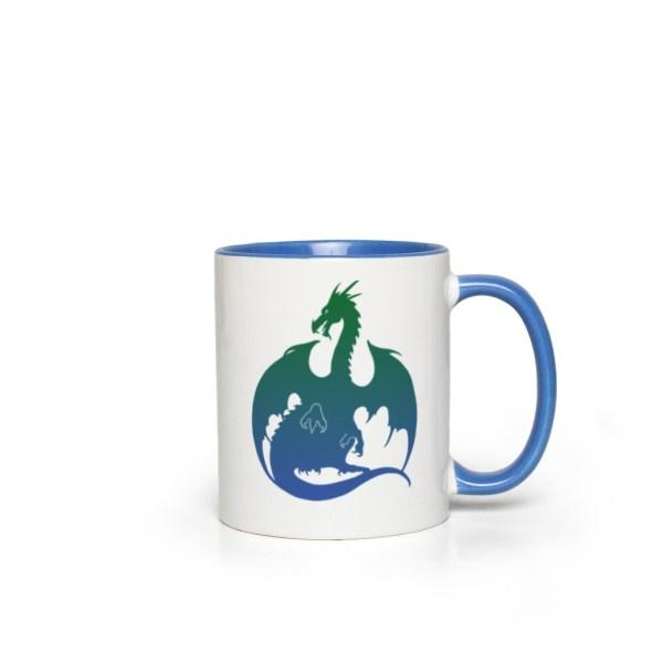 Blue Green Dragon Accent Mug