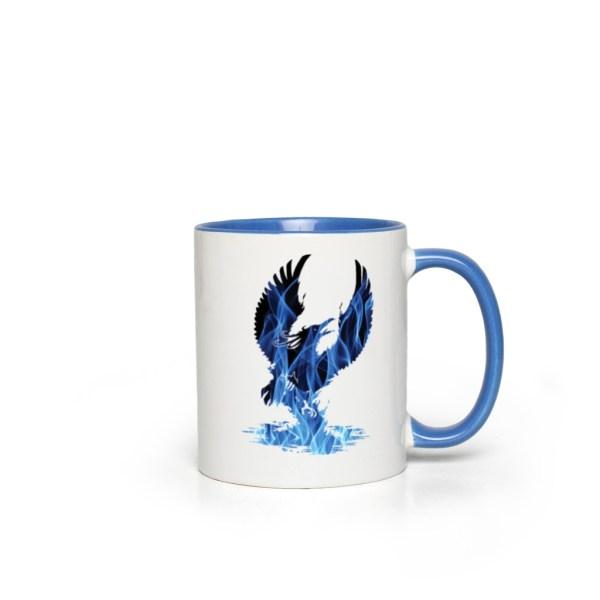 Blue Fire Phoenix Accent Mug