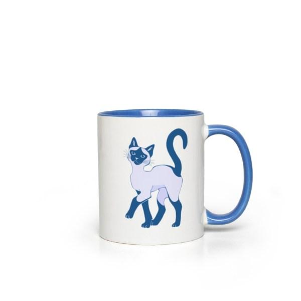 Blue Siamese Cat Accent Mug