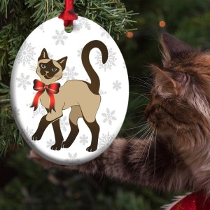 Siamese Cat Holiday Eco-Friendly Metal Ornament