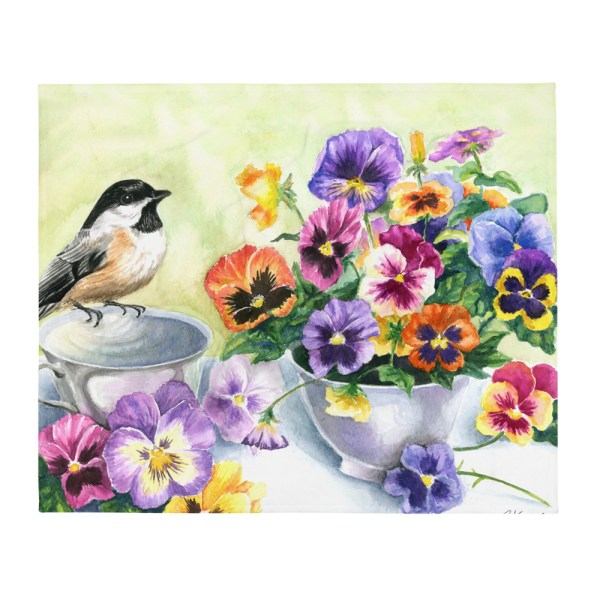 Chickadee & Pansies Throw Blanket