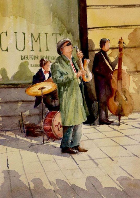 Acuarela Musica Jazz en la calle