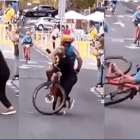 Se atraviesa y choca con ciclista cerca de la meta