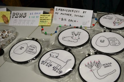 """""""Make good choices egg"""", on the left, was the first embroidery, which began the mother and daughter collaboration."""