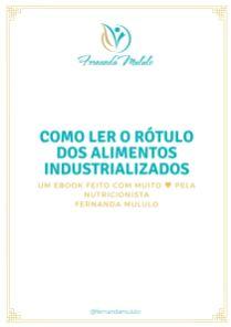 Ebook APRENDENDO LER ROTULO DOS ALIMENTOS INDUSTRIALIZADOS