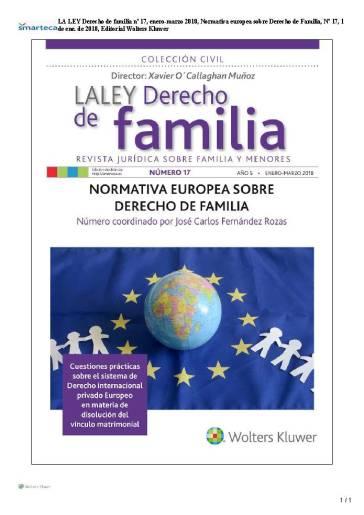 portada LA LEY Derecho de familia nº 17, enero-marzo 2018, Normativa europea sobre Derecho de Familia