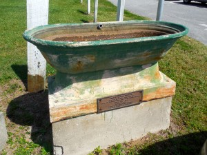 "Horse trough that ""traveled"" with the fountain from Centre Street to Fort Clinch and back again."
