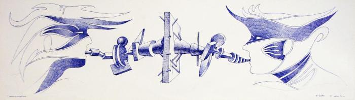 INCOMUNICACION, 2010, boligrafo papel, 70 x 20 cms