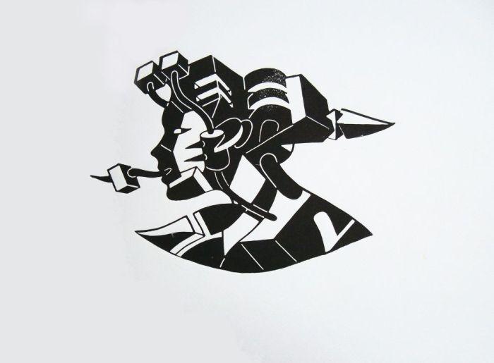 PALABRAS SORDAS 2010, estampacion con matriz, papel, 40 x 30 cms.