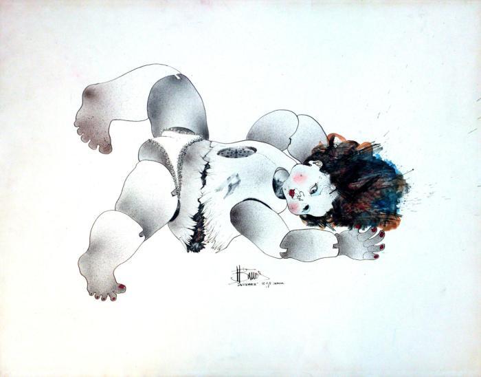ACCIDENTE 1971, tinta china y mixta,papel, 65 x 50 cms.